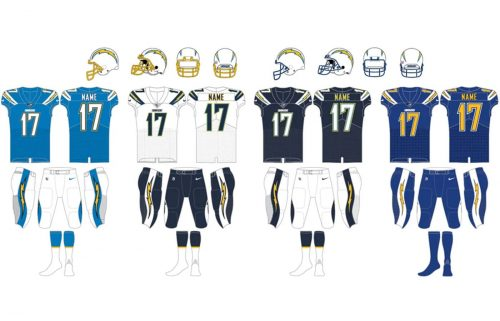 Los Angeles Chargers uniforms
